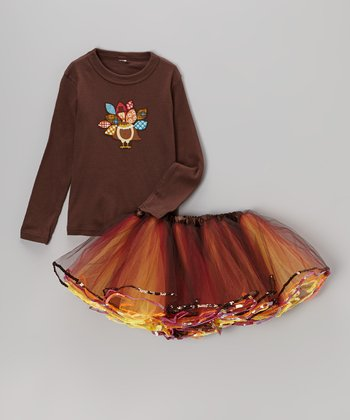 Brown Turkey Tee & Orange Tutu - Infant, Toddler & Girls