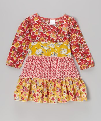 Red Daisies Surplice Dress - Toddler & Girls