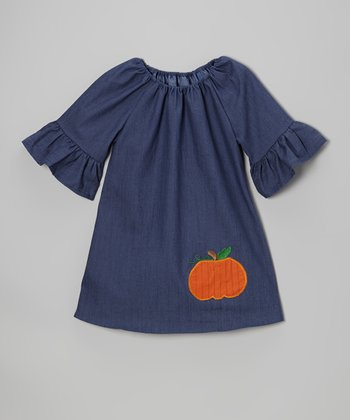 Denim Pumpkin Peasant Dress - Infant, Toddler & Girls
