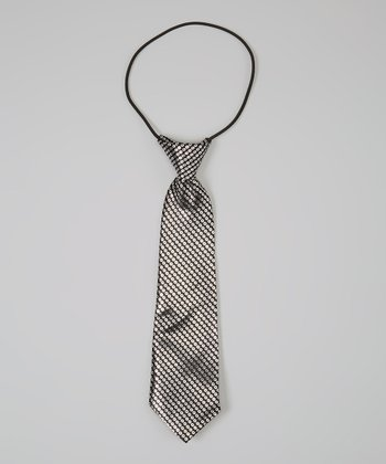 Black & Silver Polka Dot Satin Tie