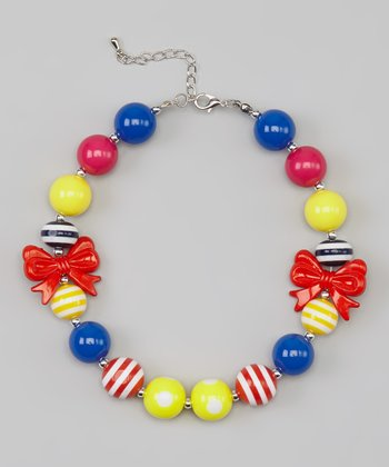 Yellow & Red Bow Beaded Necklace
