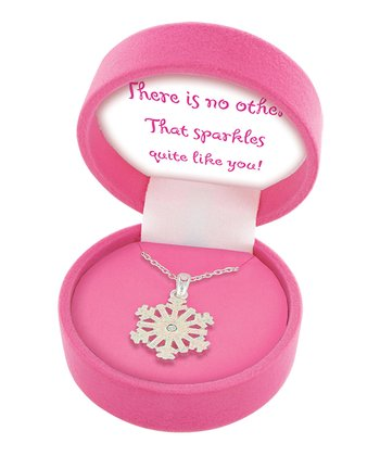 Silver & Pink Snowflake Necklace & Gift Box