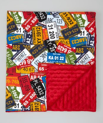 Red License Plate Minky Stroller Blanket
