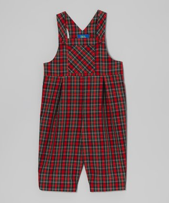 Red & Green Plaid Overalls - Toddler
