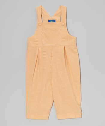 Orange Gingham Overalls - Infant & Toddler