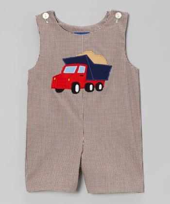 Brown Gingham Truck Shortalls - Infant & Toddler