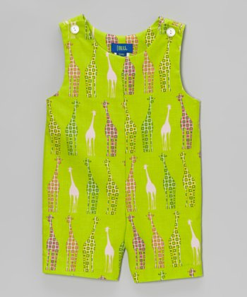 Lime Giraffe Shortalls - Infant & Toddler