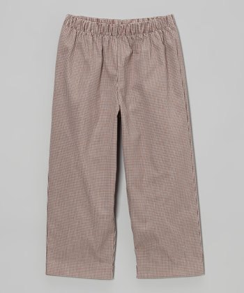 Brown Gingham Pants - Boys