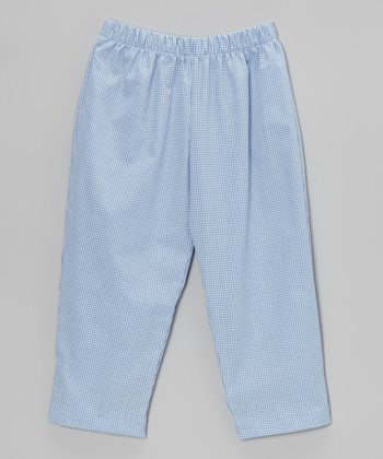 Light Blue Gingham Pants - Infant, Toddler & Boys