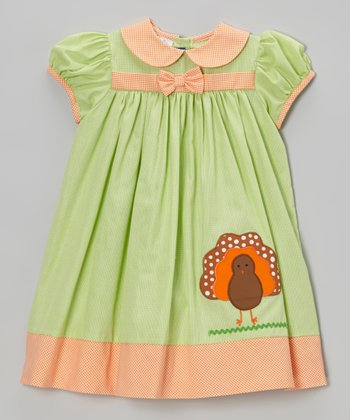 Lime Turkey Dress - Infant & Toddler
