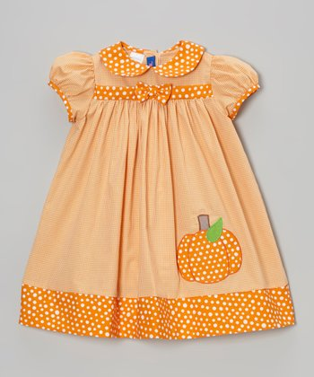 Orange Gingham Pumpkin Dress - Infant & Toddler