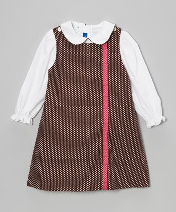 White Blouse & Brown Polka Dot Jumper - Toddler