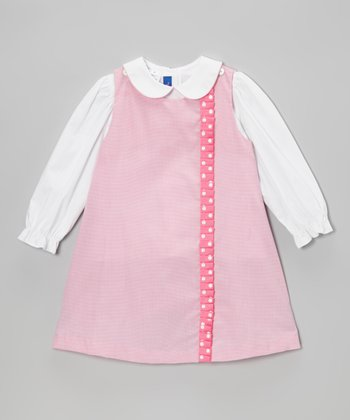 White Top & Pink Gingham Jumper - Toddler & Girls