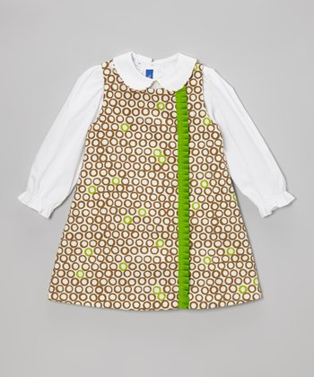 White Top & Brown Circle Jumper - Toddler & Girls