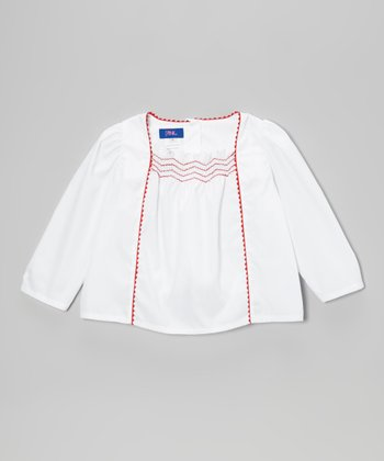 White & Red Rickrack Peasant Blouse - Toddler & Girls