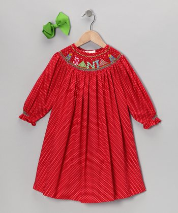 Red Santa Long-Sleeve Bishop Dress & Bow Clip - Toddler & Girls