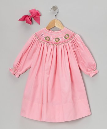 Pink 'Ho Ho Ho' Long-Sleeve Bishop Dress & Bow Clip - Toddler
