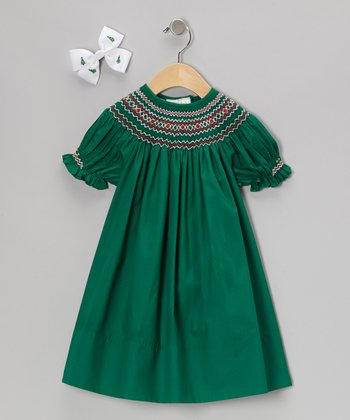 Green Bishop Dress & Bow Clip - Infant, Toddler & Girls