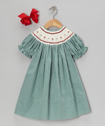 Green Gingham Bishop Dress & Bow Clip - Infant, Toddler & Girls