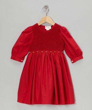 Red Long-Sleeve Smocked Dress - Toddler & Girls