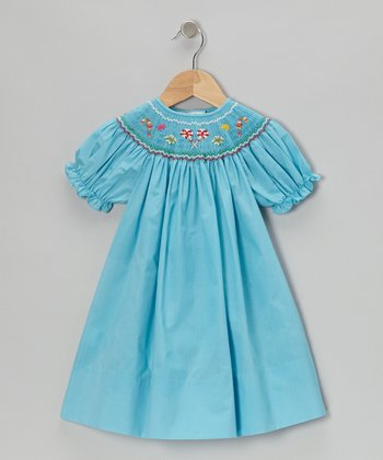 Turquoise Sweets Short-Sleeve Bishop Dress - Infant & Toddler
