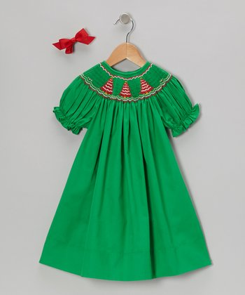 Green Tree Short-Sleeve Bishop Dress & Bow Clip - Toddler