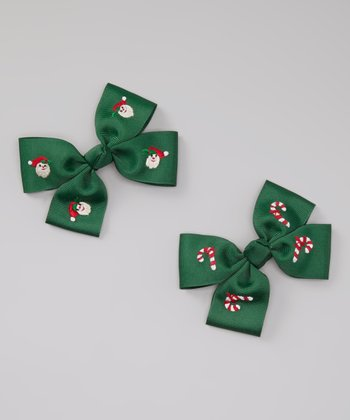 Green Santa Bow Clip Set