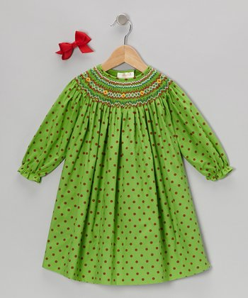 Green Long-Sleeve Bishop Dress & Red Bow Clip - Infant & Toddler
