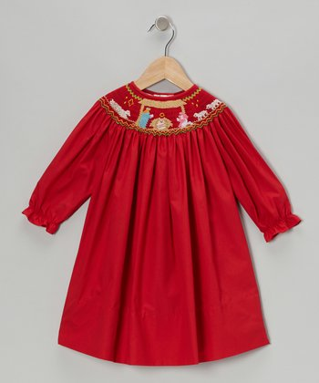 Red Nativity Long-Sleeve Bishop Dress - Infant, Toddler & Girls