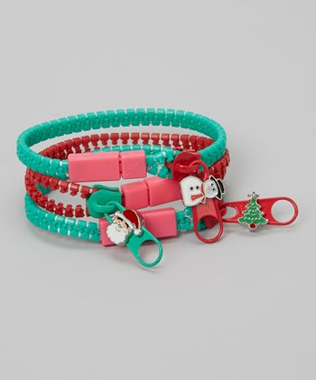 Red & Aqua Zipper Bracelet Set
