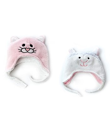 Luvali Pink Kitty & Lamb Reversible Beanie