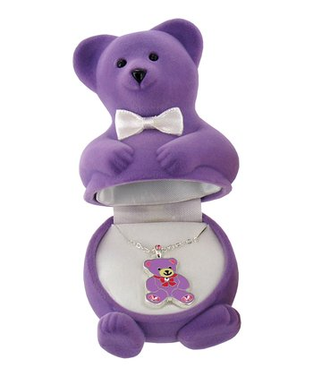 Purple Teddy Bear Pendant Necklace
