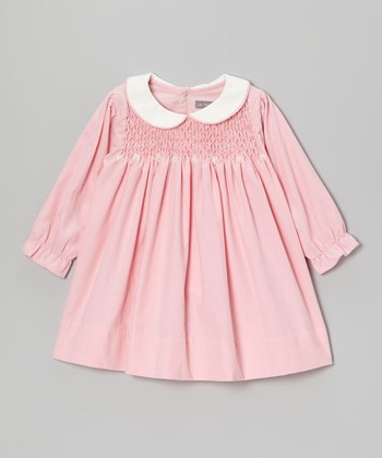 Pink Corduroy Smocked Dress - Infant