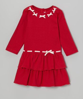 Red Bow Tie Ruffle Dress - Infant