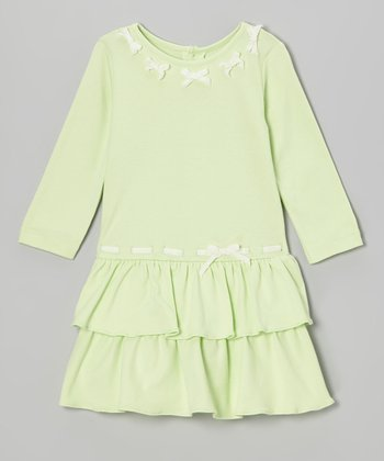 Lime Green Bow Tie Ruffle Dress - Infant & Toddler