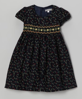 Navy Floral Corduroy Smocked Dress - Infant & Toddler