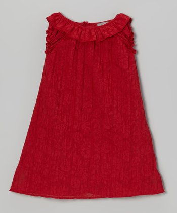 Red Damask Ruffle Shift Dress - Toddler & Girls