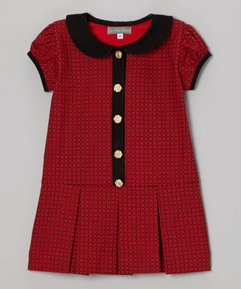 Red & Black Rose Peter Pan Dress - Toddler