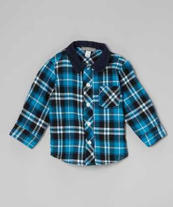 Navy Plaid Button-Up - Infant