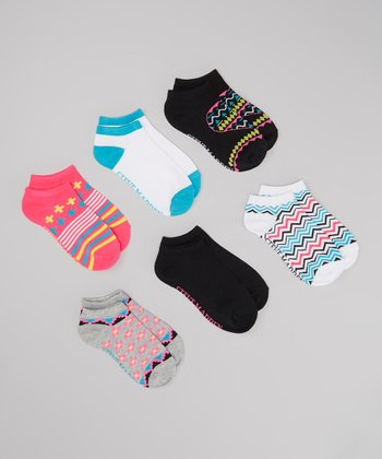 Pink & White Zigzag Ankle Socks Set