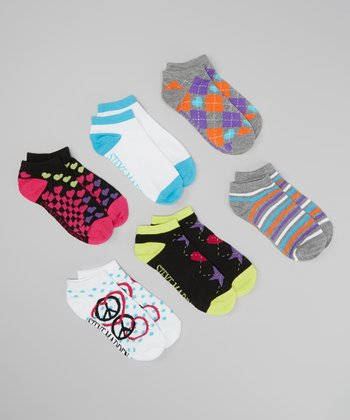 Pink & White Peace Sign Ankle Socks Set