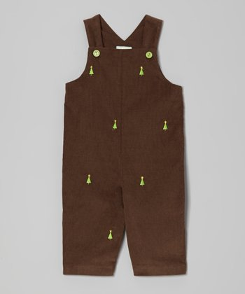 Brown Christmas Tree Overalls - Infant & Toddler