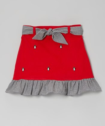 Red Penguin Ruffle Skirt - Toddler & Girls