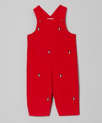 Red Penguin Overalls - Infant & Toddler