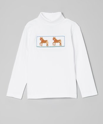 White & Brown Horse Smocked Turtleneck - Infant, Toddler & Boys