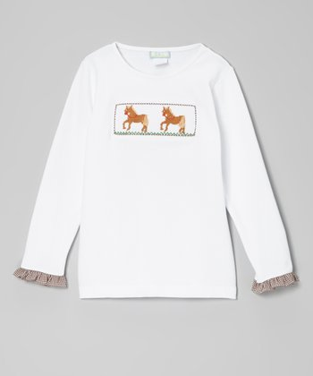 White & Brown Horse Ruffle Smocked Tee - Toddler & Girls