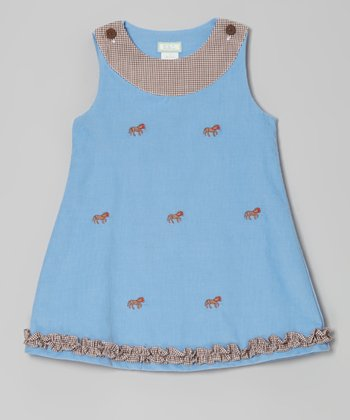 Blue Horses Ruffle Jumper - Infant, Toddler & Girls