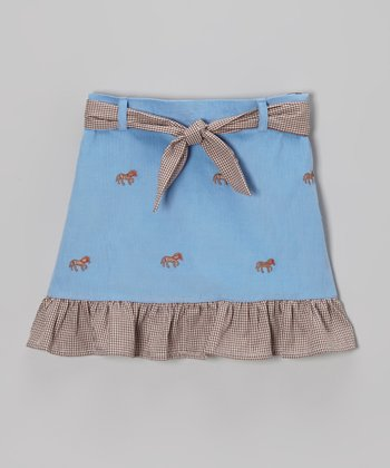 Blue Horse Ruffle Skirt - Toddler & Girls