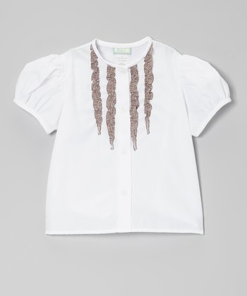White & Brown Gingham Ruffle Button-Up - Toddler & Girls
