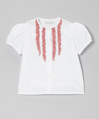 White & Red Gingham Ruffle Button-Up - Toddler & Girls